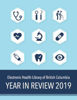 Cover of the eHLbc Year in Review 2019. Image includes health related icons like a stethoscope, dental tools and a bandaid.